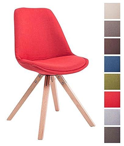 CLP Design Retro-Stuhl TOULOUSE Holzgestell Natura Square, Stoffbezug gepolstert rot