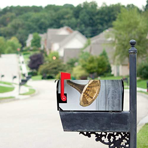 LONGYUU Türkis Grammophon Plattenspieler Standardgröße Original Magnetic Mail Anschreiben Briefkasten 21 x 18 Zoll Mailbox Wraps Magnetic Urlaub Mailbox Cover Flag Mailbox Cover
