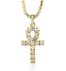 Idea Regalo - Halukakah Preghiera Uomo Maschile 18K 18 Carati Placcato Oro Reale Croce Pendente Diamanti Artificiali Collana con Catena a Corda Gratuita 30