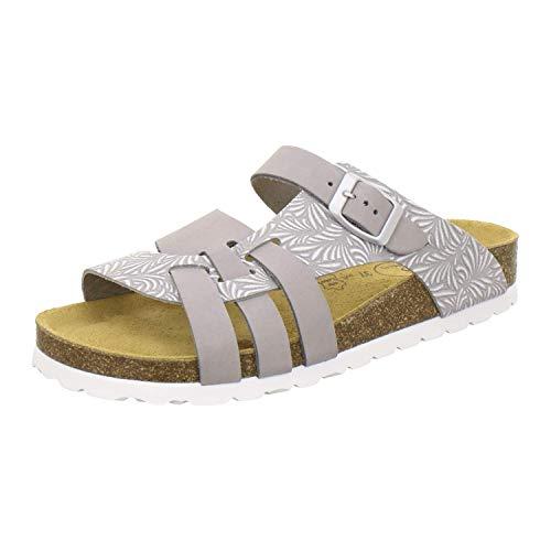 Modische Damen-Pantoletten | Made in Germany | praktische Arbeitsschuhe| AFS-Schuhe 2122 | hochwertiges, echtes Leder| verstellbare Bio-Pantoletten | bequeme Hausschuhe |auftrittsdämpfende Laufsohlen grau weiß Größe 40 EU