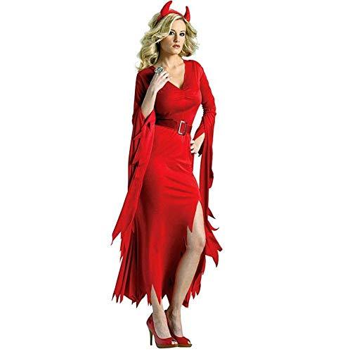 Gespenstische Sexy Braut Kostüm - Fashion-Cos1 Kostüm-Maskerade-gespenstische Braut-Hexe-Erwachsene weibliche Spiel-Vampirs-Halloween-Rot sexy (Color : Red, Size : L)
