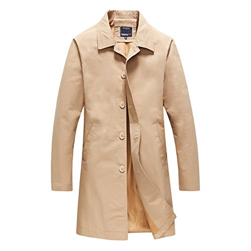 Herren Langarm Farbe Brife Stil Singel Button Baumwolle Trench Coats Khaki