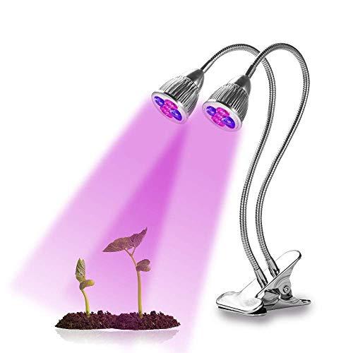 HAOHAODONG LED wachsen Licht - 10W 360-Grad-2-Kopf-LED-Anlage wachsen Licht Flexibler Innenbereich wächst Lichtanlage wachsen Lampe für Zimmerpflanzen Gewächshausbeleuchtung
