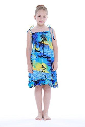 Nia-Elstico-Volante-fruncido-hawaiano-Luau-Vestir-en-Puesta-de-sol-azul-8