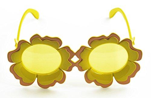 Kind Sonnenblume Kostüm - Sonnenblumen Brille Sunshine - Gelb - Zubehör zum Gärtnerin Zwerg Clown oder Hippie Kostüm