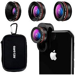 Kit Objectif Smartphone HD - Kit objectif d'appareil photo pour iPhone X/8/7plus/7, Samsung S8 +/S8/et d'autres (230°objectif fisheye, 0,65 x Objectif Super Grand Angle, 15 x Super Macro objectif)