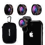 NELOMO Lente Kit Lenti 3 in 1 Lenti Kit Clip-On Lente HD Obiettivo Della Fotocamera Kit Per iPhone X 8 7, Samsung S8 e altri cellulari (230 °obiettivo fisheye, grandangolo 0.65 x, 15 x macro lens)