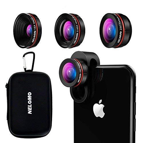 NELOMO Professional HD Kamera Objektiv Kit für iPhone X/8/7plus/7/6s, Samsung S9+ S9 S8 +/S8 und andere Handys (230 ° Fisheye Objektiv, 0,65 x Super Weitwinkel Objektiv, 15 x Super-Makro-Objektiv)