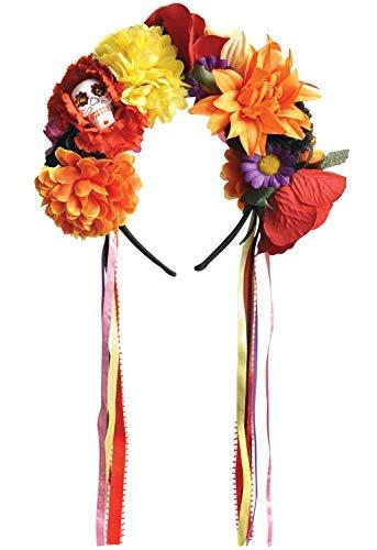 Damen Deluxe Tag der Toten Zuckerschädel Blumenmuster Bunt Blumen Halloween Karneval Kostüm Verkleidung Stirnband Haarband