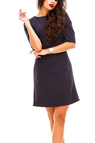 Donna Elegante E 3 / 4 Manica Allacciatura Turno Mini Vestito Scollato Blue