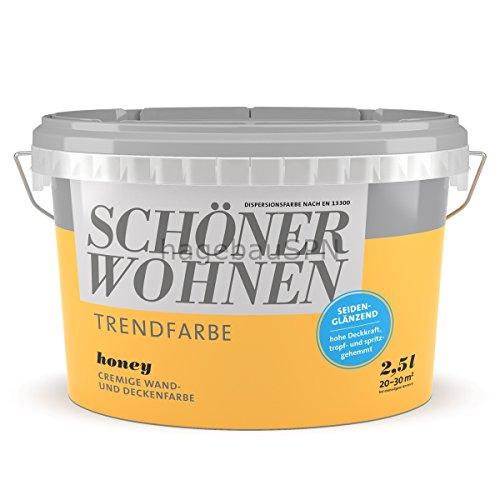 SCHÖNER WOHNEN FARBE Wand- und Deckenfarbe Trendfarbe Honey, seidenglänzend, 2,5 l 2 l, Honey