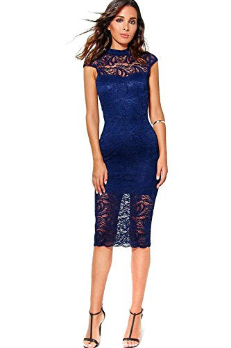 Marine Femme Josey All Over Lace Cap Sleeve Midi Dress Marine