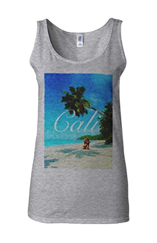 California Holiday Summer Novelty White Femme Women Tricot de Corps Tank Top Vest Gris Sportif