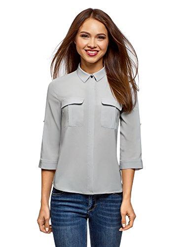 oodji Ultra Damen Bluse aus Fließendem Stoff mit Brusttaschen, Grau, DE 42 / EU 44 / XL
