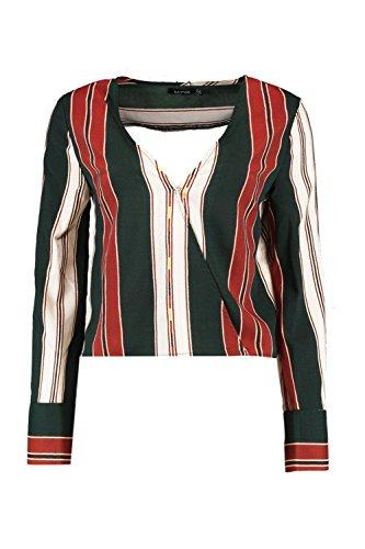 vert Femmes Millie Stripe Wrap Front Flare Sleeve Blouse Vert