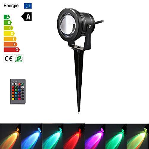LED-Landschaftslichter, ONEVER 10W 100 Lumen Fernsteuerungs-LED-Rasen-Lampe beleuchtet wasserdicht mit Spitze, DC 12V RGB (1 pack) -