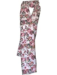 KARRMAZ 100% Natural Bamboo Cotton Scarf Floral Print Pink Red Color Scarf, Stole, Dupatta