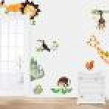 Pegatina de pared Switchali moda nuevo 2017 Selva Animal Niño Bebé Vivero Pegatinas para pared Creativo Vinilo Decorativo del Cristal dibujos animados Decoración del hogar Pegatina para Puerta Habitación barato gran venta