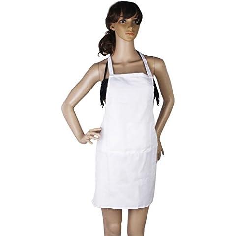 LEORX sin mangas cocina Delantal con bolsillo (Blanco)