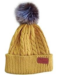 QUICKLYL Sombreros de Punto Bebé Gorro de Gorro Caliente Invierno Cálido  con Bolas Mullidas para Niños b100fe9f5b7