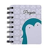 Beafavor Animal mignon Cartoon Rollover Bobine Portable Mini Ordinateur Portable Planificateur hebdomadaire Note Fournitures Scolaires (Pingouin)