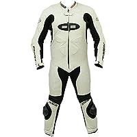 Perrini Fusion tuta tuta da moto racing in pelle bianco,