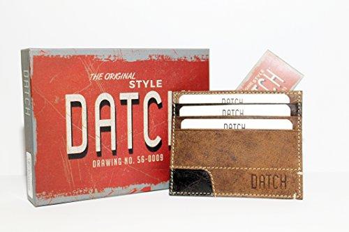 DATCH Porta carte di credito UOMO in vera pelle colore MARRONE sottile
