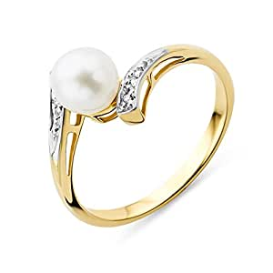 Miore 9ct Yellow Gold Freshwater Pearl and Diamond Engagement Ring For Her MT058R- Size M