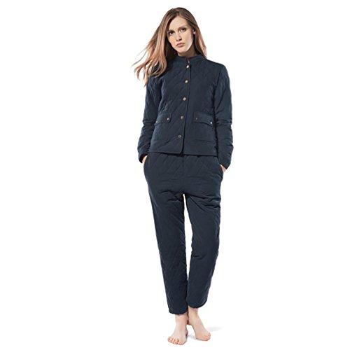 CHUNHUA Mme hiver triple épaisseur pantalons matelassés grands chantiers à manches longues pyjama cardigan , blue , xl Blue