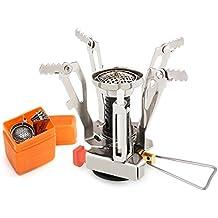 Aodoor Mini réchaud portable léger à gaz en métal, Réchaud de Camping Pliable et Portable avec Allumage, Très puissant, de haute qualité, chromé