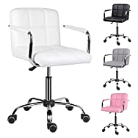 EUCO Office Chair,White Desk Chair for Home Comfy Padded Leather Computer Chair with Armrest Adjustable Height Swivel Chair,Home/Office Furniture
