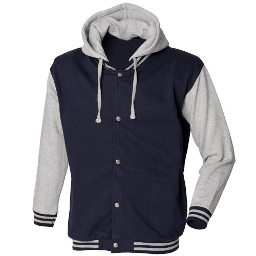 Skinni Fit - Veste de sport épaisse avec capuche détachable - Homme (2XL) (Bleu marine/Gris chiné)