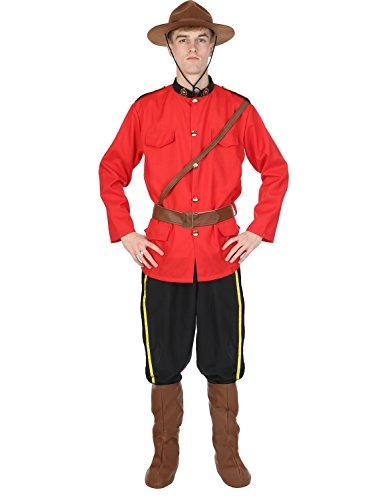 Herren Kanadische Mountie Rote Uniform der Polizei Verkleidung -