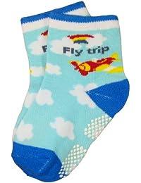 BOMIO | ABS Socken in farbenfrohem Design Pilot | Antirutsch Baby-Söckchen aus hautfreundlichem Material | Stoppersocken | Hervorragende Passform