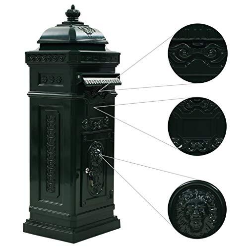 tidyard Säulenbriefkasten Aluminium Vintage-Stil Postkasten Rostfrei Grün