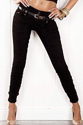 Aurora Denim Jeans Damen Hose Pumphose mit Schnürung + Gürtel stretch schwarz Schwarz