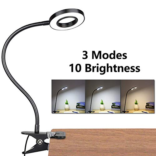 LED Lampe De Bureau à Pince, USB Alimenté Flexible Lampe De Lecture à Pince Pliable Réglable...