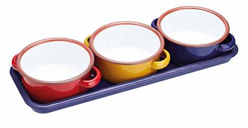 """Kitchen Craft World of Flavours Servierschalen aus Emaille/Tapas-Schalen mit Tablett, 11 cm (4,5\"""") -Mehrfarbig (Set mit 3), 11.5 x 13.5 x 5 cm"""