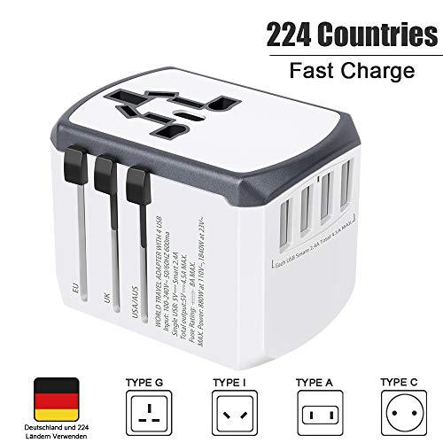 Reiseadapter Reisestecker Weltweit 224+ Ländern Universal Travel Adapter mit USB und AC Steckdosenadapter Internationale Reiseadapter für USA England Australien Europa Deutschland China Thailand Usw