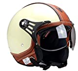 BNO-PL28 Jethelm Beige glänzend + Braun, Motorradhelm, Schutzhelm Helm S - XL (L)