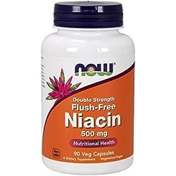Now Foods, Flush-free Niacin (ohne Hautrötung), doppelte Stärke, 500mg, 90 Kapseln, vegetarisch/vegan