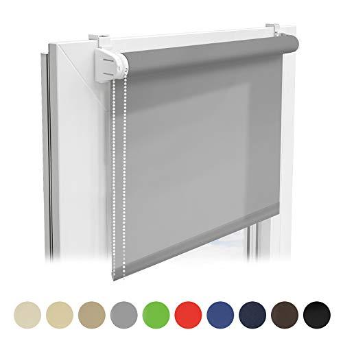 casa pura® Sichtschutzrollo - lichtdurchlässiges Rollo als Sichtschutz am Fenster - Fensterrollo in vielen Größen und Farben | Grau | 110x150cm