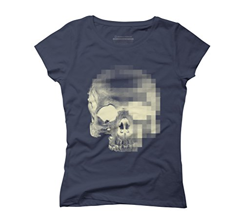 Another Digital Scull Women's Graphic T-Shirt - Design By Humans Navy