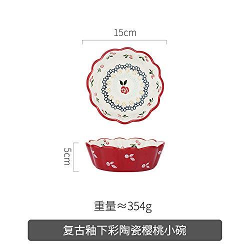 Teenager-Mädchen süße japanische Art Platte gesetzt nach Hause neue kreative Gerichte Fischteller Salat Suppenschüssel Kirsche kleine Schüssel 15x5cm