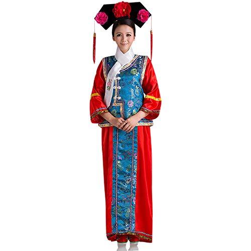 XFentech Uralt Chinesisches Kostüm - Damen Chinesischer Stil Prinzessin Kleider Klassik Elegant National Traditionell Kostüm, Blau, EU 110 = Tag - Traditionelle Chinesische Frau Kostüm