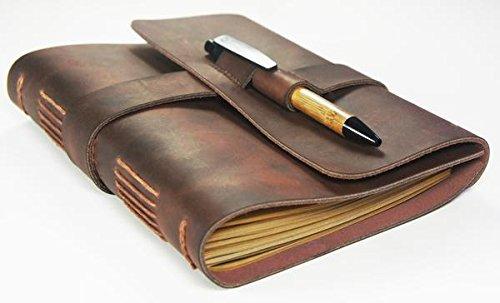 Tagebuch, Reisetagebuch aus echtem Leder - mit Bambus-Stift, handgefertigt