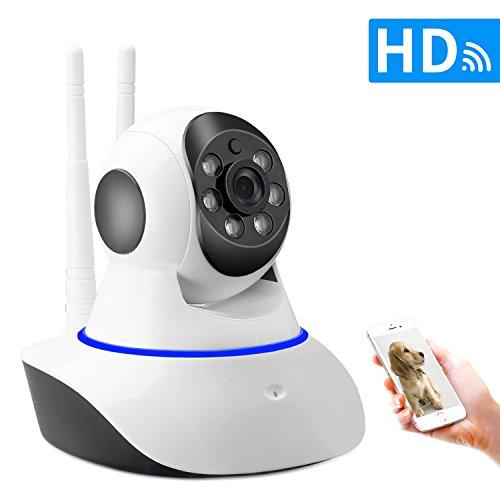 SDETER IP Telecamera di Sorveglianza Wireless 720p Videocamera di Sicurezza WiFi Dome Camera con Audio Bidirezionale,Modalit Notturna a Infrarossi (Doppia antenna)