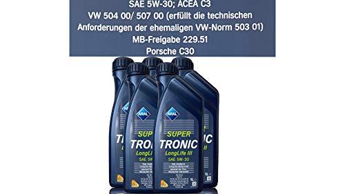 Aral Super Tronic Longlife III 5W-30 Motorenöl, 5L (5X1L)