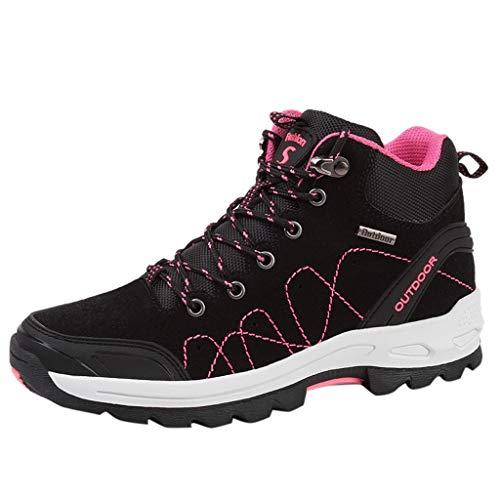 Damen Wanderschuhe Atmungsaktiv Trekking- & Wanderhalbschuhe Bequem Outdoor Wanderstiefel rutschfeste Sportlich Sneaker Anti-Rutsch Wanderhalbschuhe Turnschuhe Laufschuhe (EU:36, Schwarz)