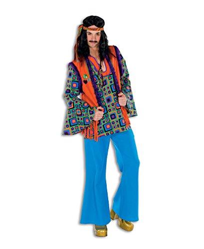 Karneval-Klamotten Hippie Hemd Kostüm Herren Flower-Power Kostüm Peace Hemd Retro 60er 70er Jahre Kostüm Karneval Oberteil Weste Herren-kostüm Größe 50